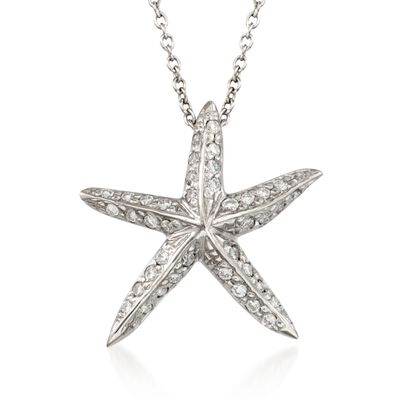 "Roberto Coin ""Tiny Treasures"" .16 ct. t.w. Diamond Starfish Necklace  in 18kt White Gold, , default"