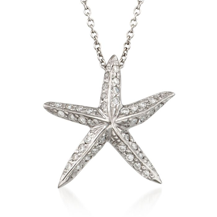 """Roberto Coin """"Tiny Treasures"""" .16 ct. t.w. Diamond Starfish Necklace  in 18kt White Gold"""