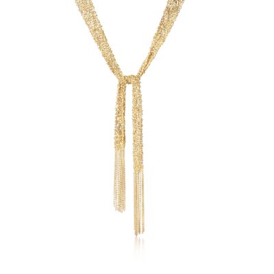 Italian 18kt Gold Over Sterling Silver Mesh Tie Necklace, , default