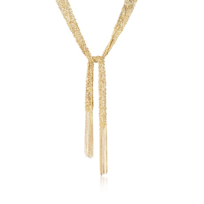 """Italian 18kt Gold Over Sterling Silver Mesh Tie Necklace. 32"""", , default"""