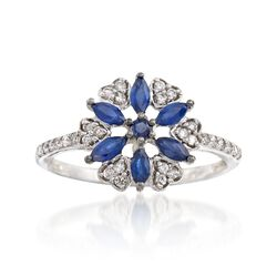 .64 ct. t.w. Sapphire and .19 ct. t.w. Diamond Floral Ring in 14kt White Gold, , default