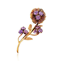 C. 1940 Vintage 1.35 ct. t.w. Amethyst Flower Pin in 14kt Yellow Gold , , default