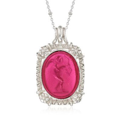 Italian Pink Venetian Glass Cupid Pendant Necklace in Sterling Silver
