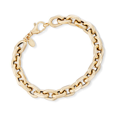 Italian 18kt Yellow Gold Oval Link Bracelet, , default
