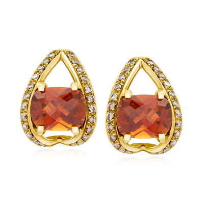 C. 1980 Vintage 5.38 ct. t.w. Pink Tourmaline and .75 ct. t.w. Diamond Earrings in 18kt Yellow Gold