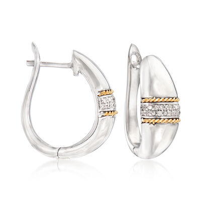 .11 ct. t.w. Diamond Hoop Earrings in Sterling Silver and 14kt Yellow Gold, , default