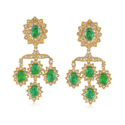 5.00 ct. t.w. Emerald and 1.25 ct. t.w. Diamond Chandelier Drop Earrings in 18kt Yellow Gold, , default