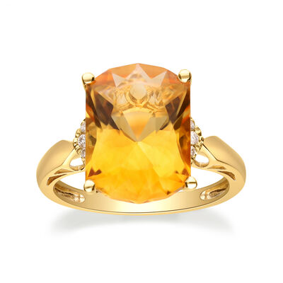5.50 Carat Citrine Ring with Diamond Accents in 14kt Yellow Gold