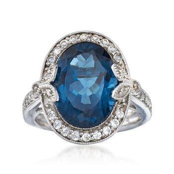 7.89 ct. t.w. London Blue and White Topaz Ring With Diamond Accents in Sterling Silver, , default
