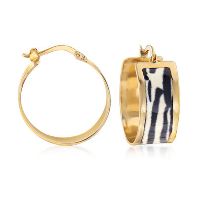 Italian Zebra-Print Enamel Hoop Earrings in 14kt Yellow Gold