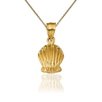 """14kt Yellow Gold Shell Pendant Necklace. 18"""", , default"""