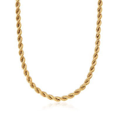 C. 1990 Vintage 14kt Yellow Gold Rope Chain Necklace