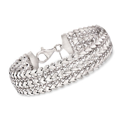 Italian Sterling Silver Multi-Row Heart Bracelet, , default