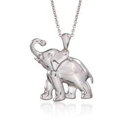 "Sterling Silver Elephant Pendant Necklace With Diamond. 18"", , default"