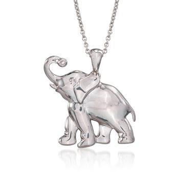 """Sterling Silver Elephant Pendant Necklace With Diamond. 18"""", , default"""