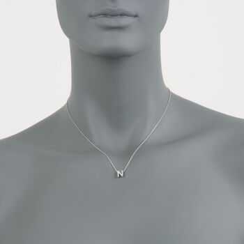 "Roberto Coin ""Love Letter"" Diamond Accent Initial ""N"" Necklace in 18kt White Gold. 16"", , default"