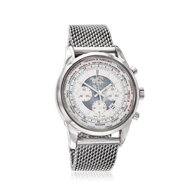 Breitling Transocean Chronograph Unitime Men's 46mm Automatic Stainless Steel Watch - White Dial, , default