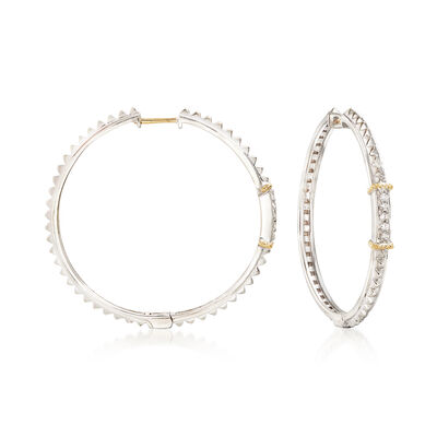 "Andrea Candela ""La Romana"" .14 ct. t.w. Diamond Hoop Earrings in Sterling Silver and 18kt Gold"