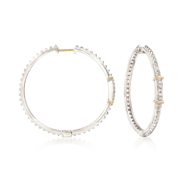 "Andrea Candela ""La Romana"" .14 ct. t.w. Diamond Hoop Earrings in Sterling Silver and 18kt Gold. 1 3/8"", , default"