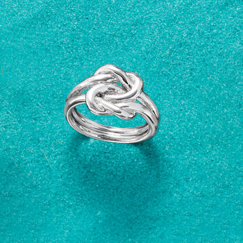 Italian Sterling Silver Double Love Knot Ring