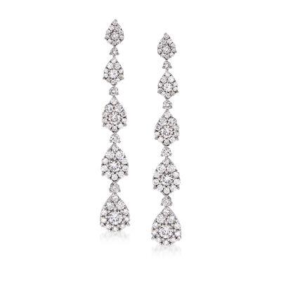 2.15 ct. t.w. Diamond Cluster Linear Drop Earrings in 14kt White Gold
