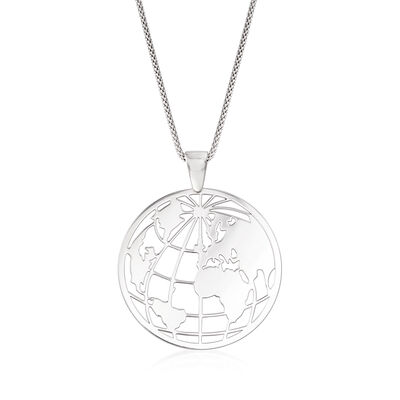 Italian Sterling Silver Globe Pendant Necklace, , default
