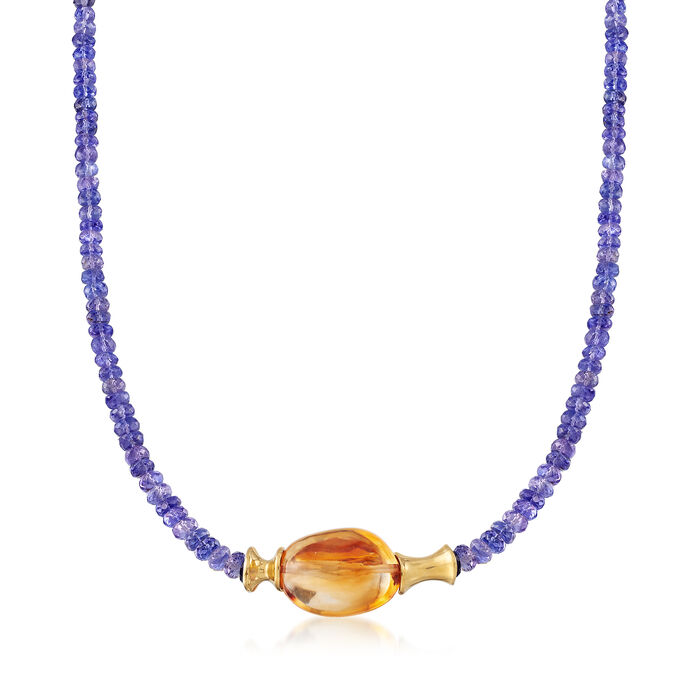 "C. 1980 Vintage 21.00 Carat Citrine and Simulated Tanzanite Bead Necklace in 14kt Yellow Gold. 17.25"", , default"