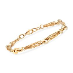 Italian 14kt Yellow Gold Cable Chain and Double Oval-Link Bracelet, , default