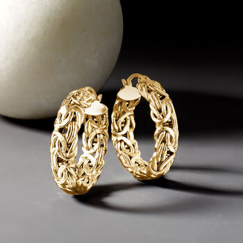 18kt Gold Over Sterling Small Byzantine Hoop Earrings. 1""