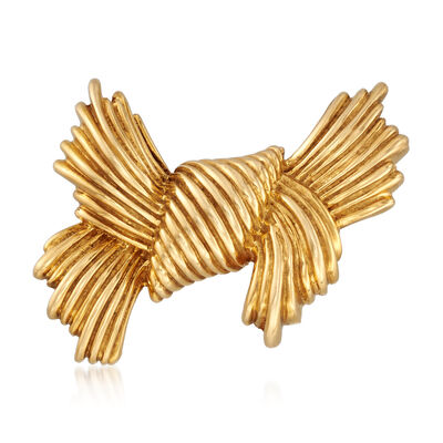 C. 1980 Vintage Tiffany Jewelry 18kt Yellow Gold Bow Pin, , default