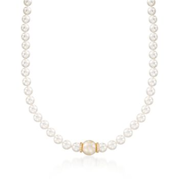 """Mikimoto """"Everyday"""" 7-7.5mm A+ Akoya and 11mm Golden South Sea Pearl Necklace With Diamonds in 18kt Yellow Gold. 18"""", , default"""