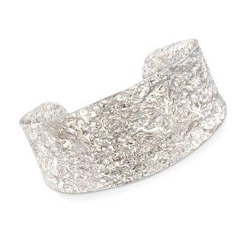 "Italian Sterling Silver Hammered Cuff Bracelet. 7.5"", , default"
