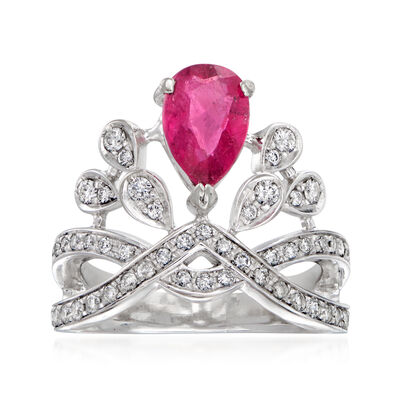 C. 1980 Vintage 1.10 Carat Pink Tourmaline and .65 ct. t.w. Diamond Ring in 18kt White Gold