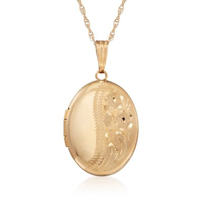 14kt Yellow Gold Oval Engraved Locket with Chain, , default
