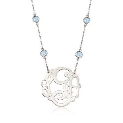 10.00 ct. t.w. Blue Topaz Station Necklace with Medium Script Monogram in Sterling Silver