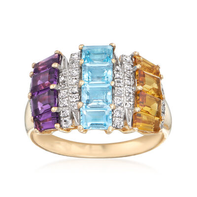 2.60 ct. t.w. Multi-Gem and .24 ct. t.w. Diamond Ring in 14kt Yellow Gold