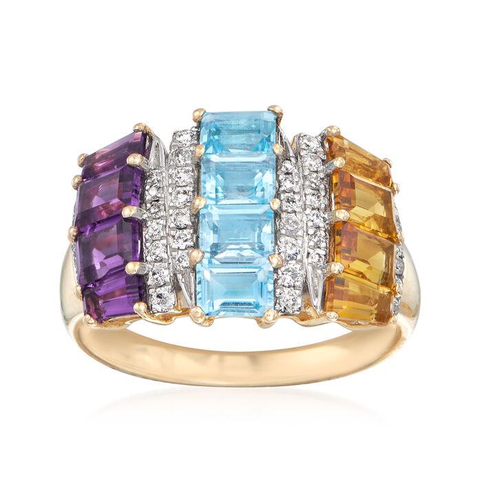 2.60 ct. t.w. Multi-Gem and .24 ct. t.w. Diamond Ring in 14kt Yellow Gold