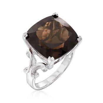 12.00 Carat Smoky Quartz Ring in Sterling Silver