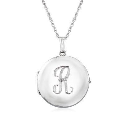 Sterling Silver Monogram Four-Photo Round Locket Necklace