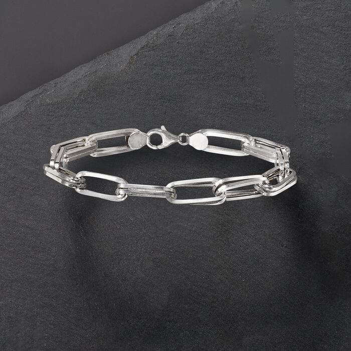 Italian Sterling Silver Double Paper Clip Link Bracelet