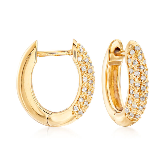 """.25 ct. t.w. Pave Diamond Hoop Earrings in 18kt Gold Over Sterling. 1/2"""", , default"""