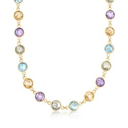 "48.00 ct. t.w. Multi-Stone Necklace in 14kt Yellow Gold Over Sterling. 18"", , default"