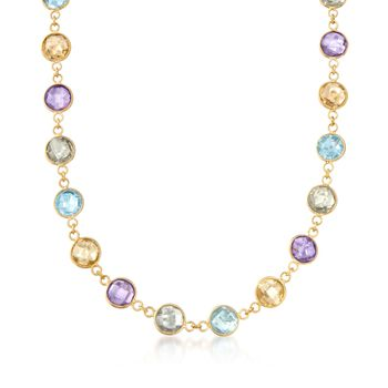 """48.00 ct. t.w. Multi-Stone Necklace in 14kt Yellow Gold Over Sterling. 18"""", , default"""