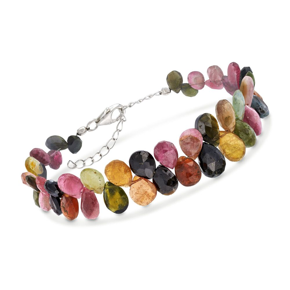 t.w. Multicolored Tourmaline Bead Cluster Bracelet in Sterling Silver. 7,