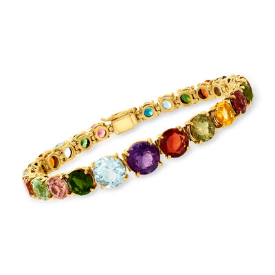 C. 1980 Vintage 24.50 Multi-Gemstone Bracelet in 14kt Yellow Gold