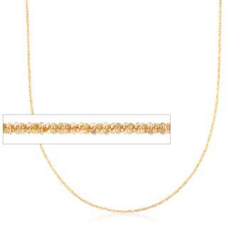 "Italian 1mm 14kt Yellow Gold Adjustable Slider Crisscross Chain Necklace. 22"", , default"