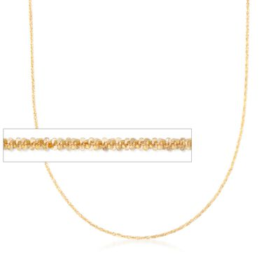 Italian 1mm 14kt Yellow Gold Adjustable Slider Crisscross Chain Necklace, , default