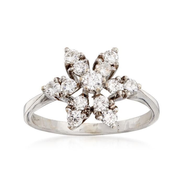 C. 1980 Vintage .75 ct. t.w. Diamond Flower Ring in 18kt White Gold. Size 5.5, , default