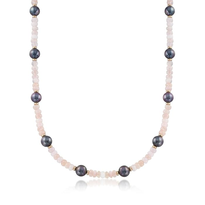 95.00 ct. t.w. Morganite Bead and 9.5-10.5mm Black Cultured Pearl Station Necklace With 14kt Gold, , default