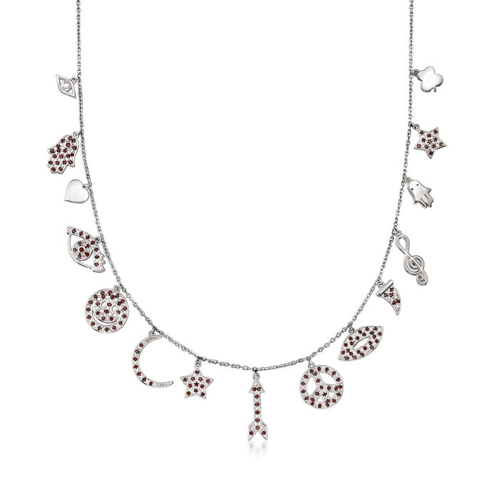 .70 ct. t.w. Garnet Multi-Charm Symbol Necklace in Sterling Silver